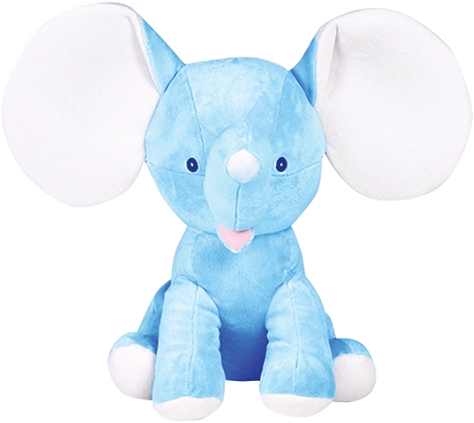 This+is+an+image+of+a+personalised+elephant+dumble+blue+from+My+Teddy
