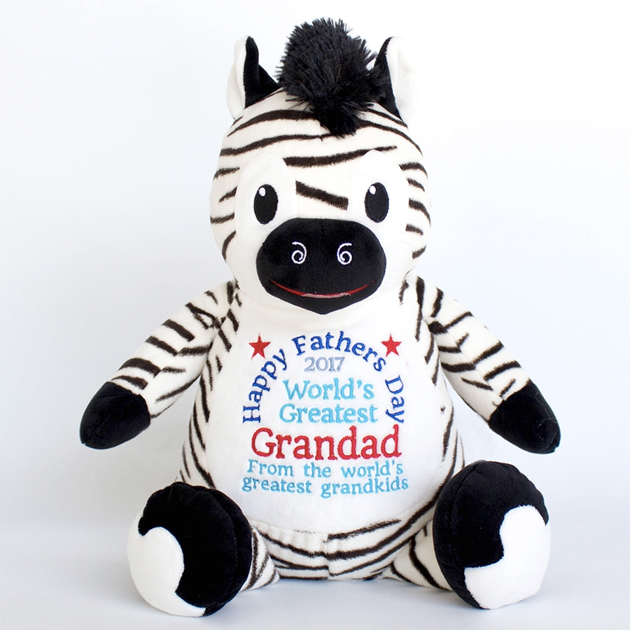 This+is+an+image+of+a+Zebra+Personalised+Gift+for+Dad+from+My+Teddy
