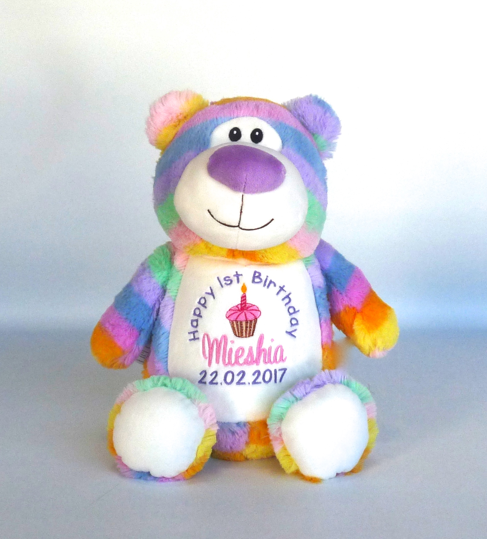 First  Birthday Pastel Rainbow Cubbie