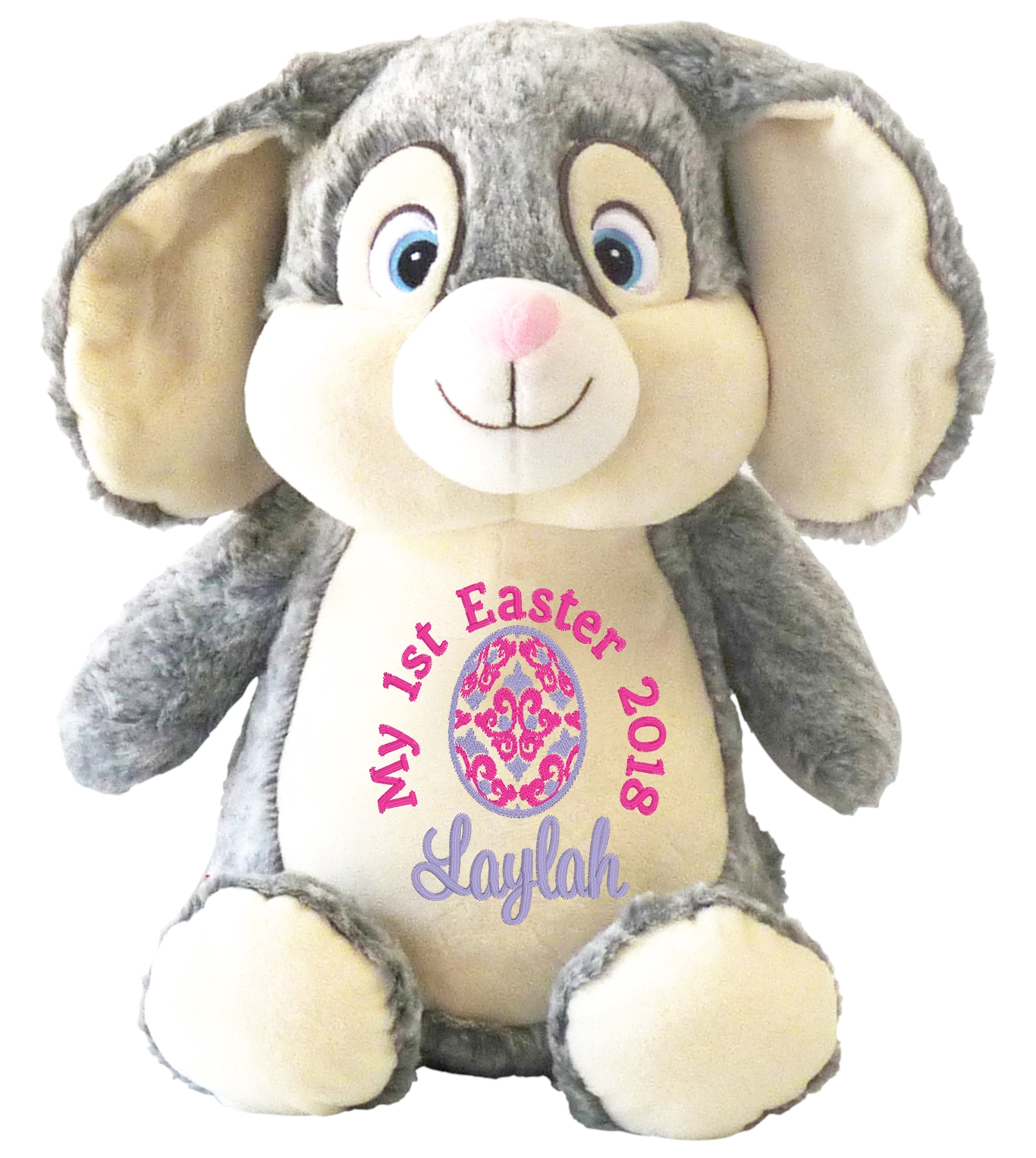 Teddy bears personalised gifts myteddy first easter grey bunny negle Images