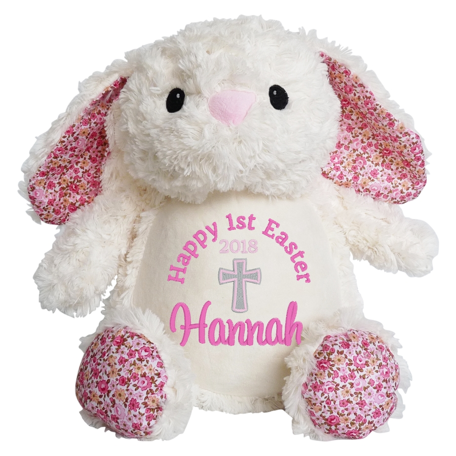 This+is+an+image+of+a+personalised+Easter+bunny+with+cross+from+My+Teddy