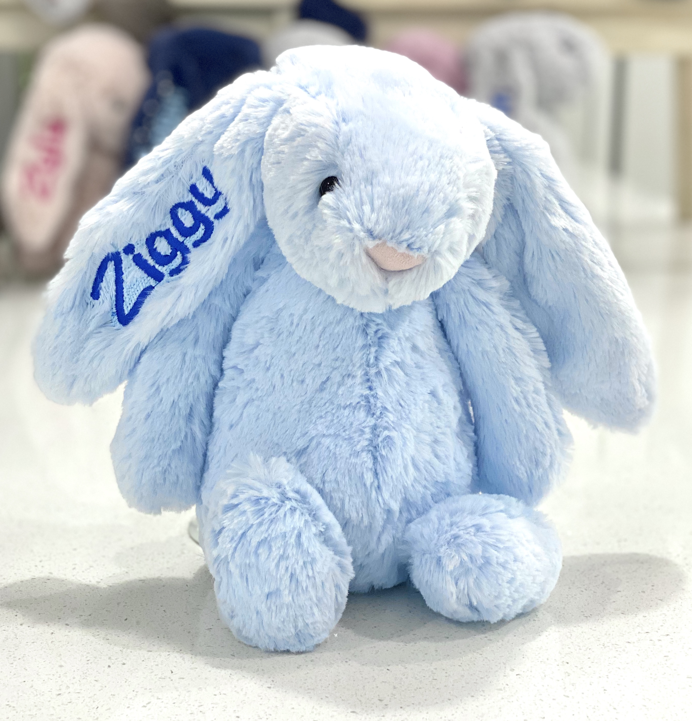 Personalised+Jellycats+bunny+blue