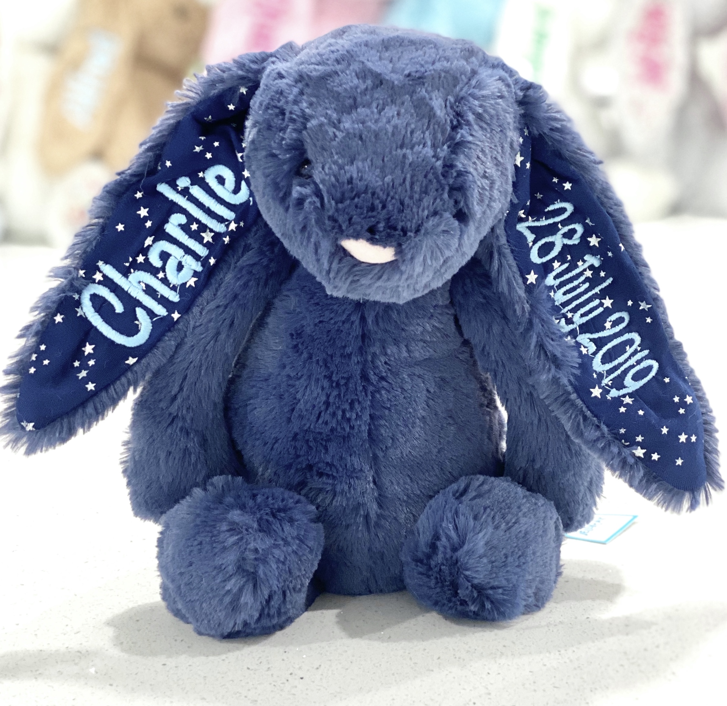 Stardust+bunny+navy+Jellycat+Bashful+Bunny+Personalised