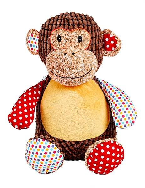 This+is+an+image+of+a+personalised+teddy+monkey+patchwork+brown+from+My+Teddy+