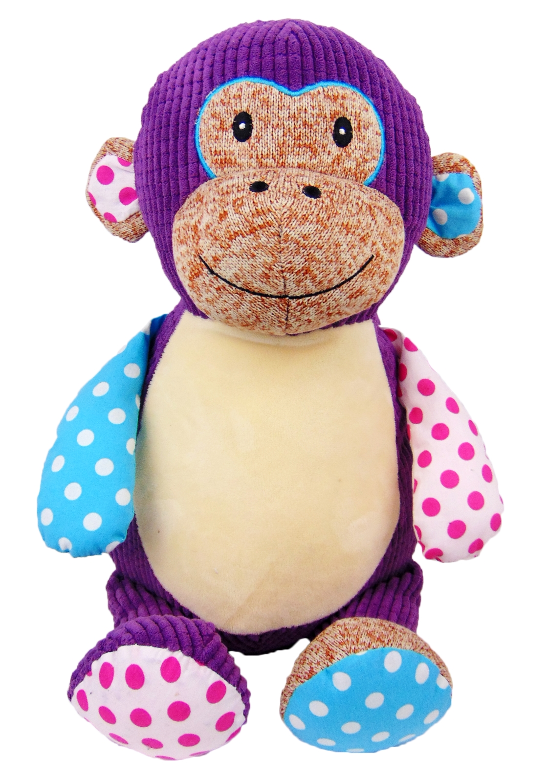 This+is+an+image+of+a+personalised+teddy+monkey+purple+patchwork+from+My+Teddy
