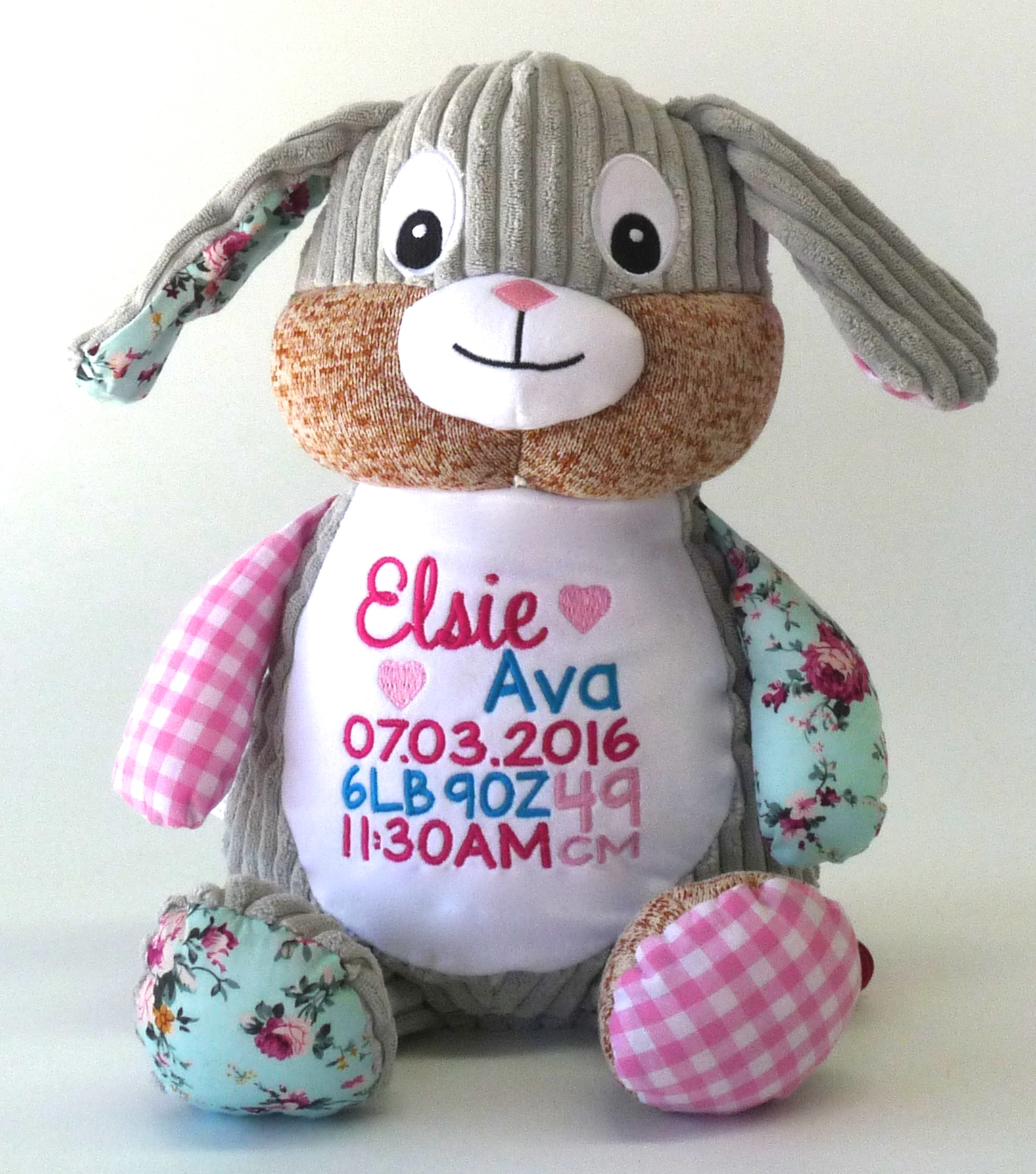 Patchwork Bunny Pink - Birth announcement