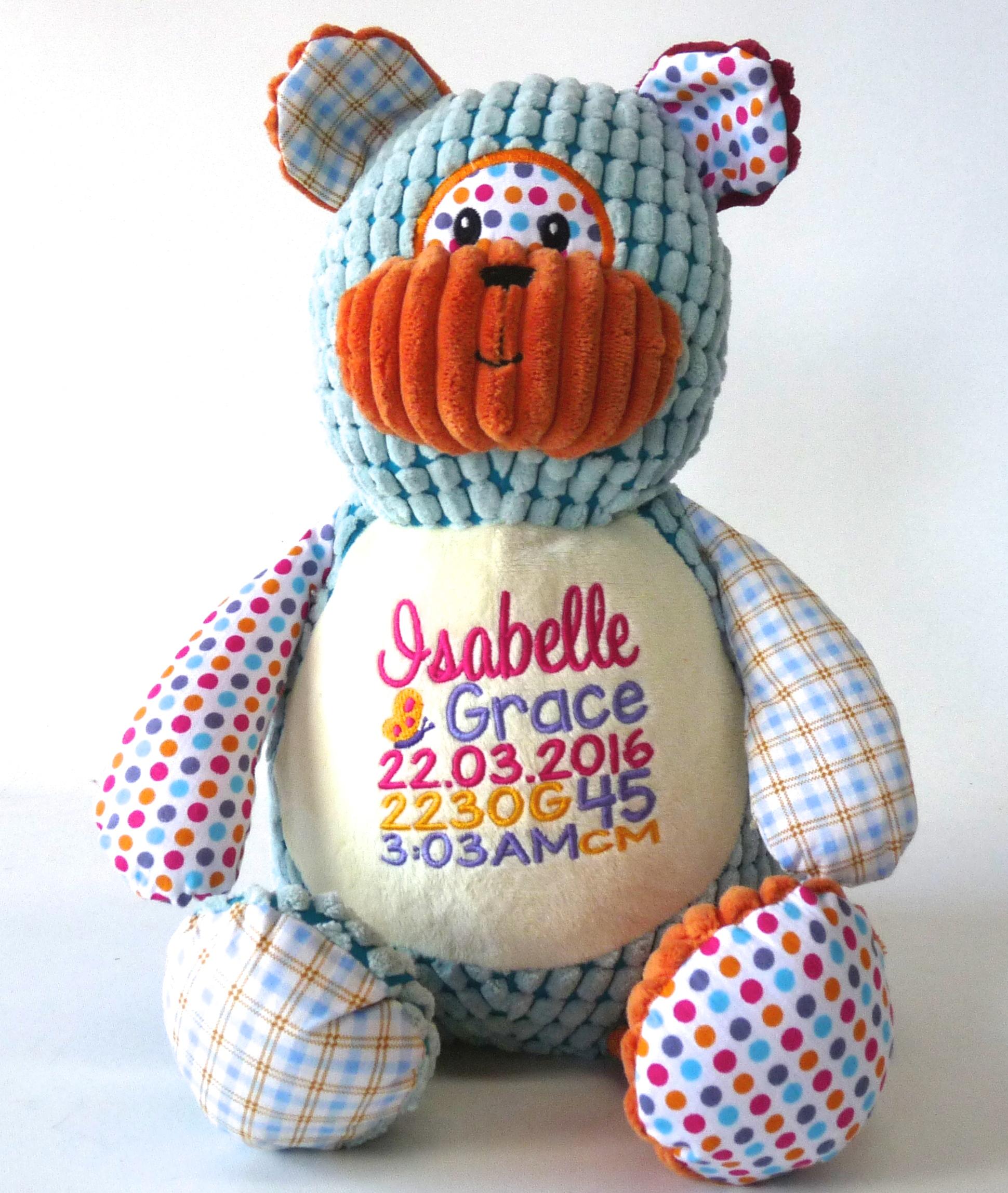 Patchwork Teddy - Birth announcement from My Teddy