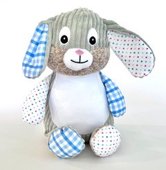 Personalised+teddy+patchwork+bunny+blue+from+My+Teddy