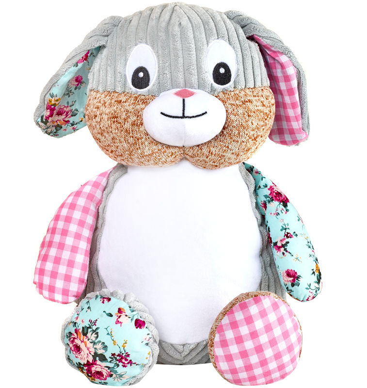 This+is+an+image+of+a+personalised+teddy+Pink+patchwork+bunny+from+My+Teddy