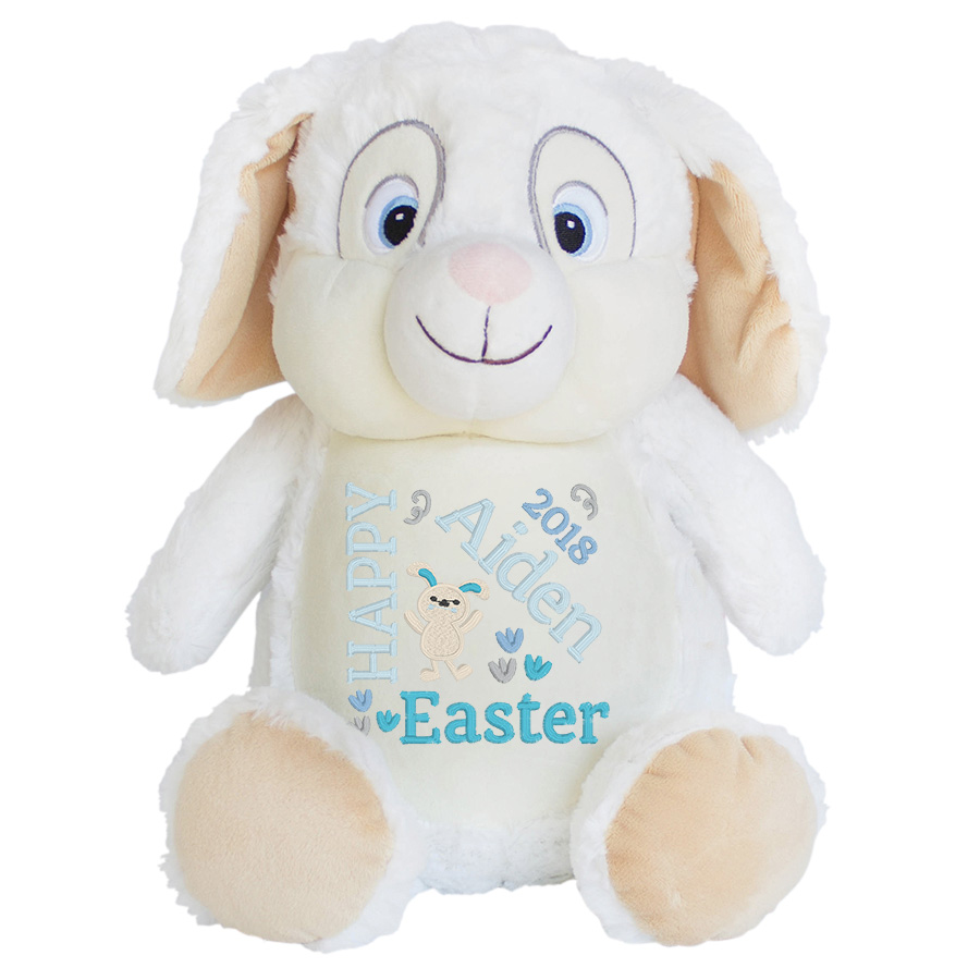 This+is+an+image+of+a+white+Personalised+Easter+Plushie+from+My+Teddy