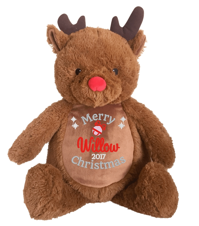 This+is+an+image+of+a+Rudolf+Reindeer+Personalised+Baby+Christmas+Gift+from+My+Teddy