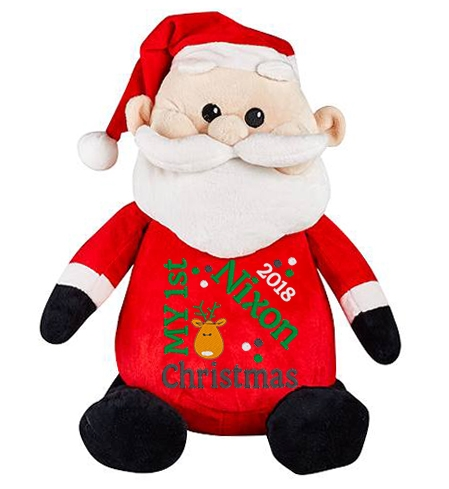 This+is+an+image+of+a+Santa+Plush+Toy+1st+Christmas+Gift+from+My+Teddy