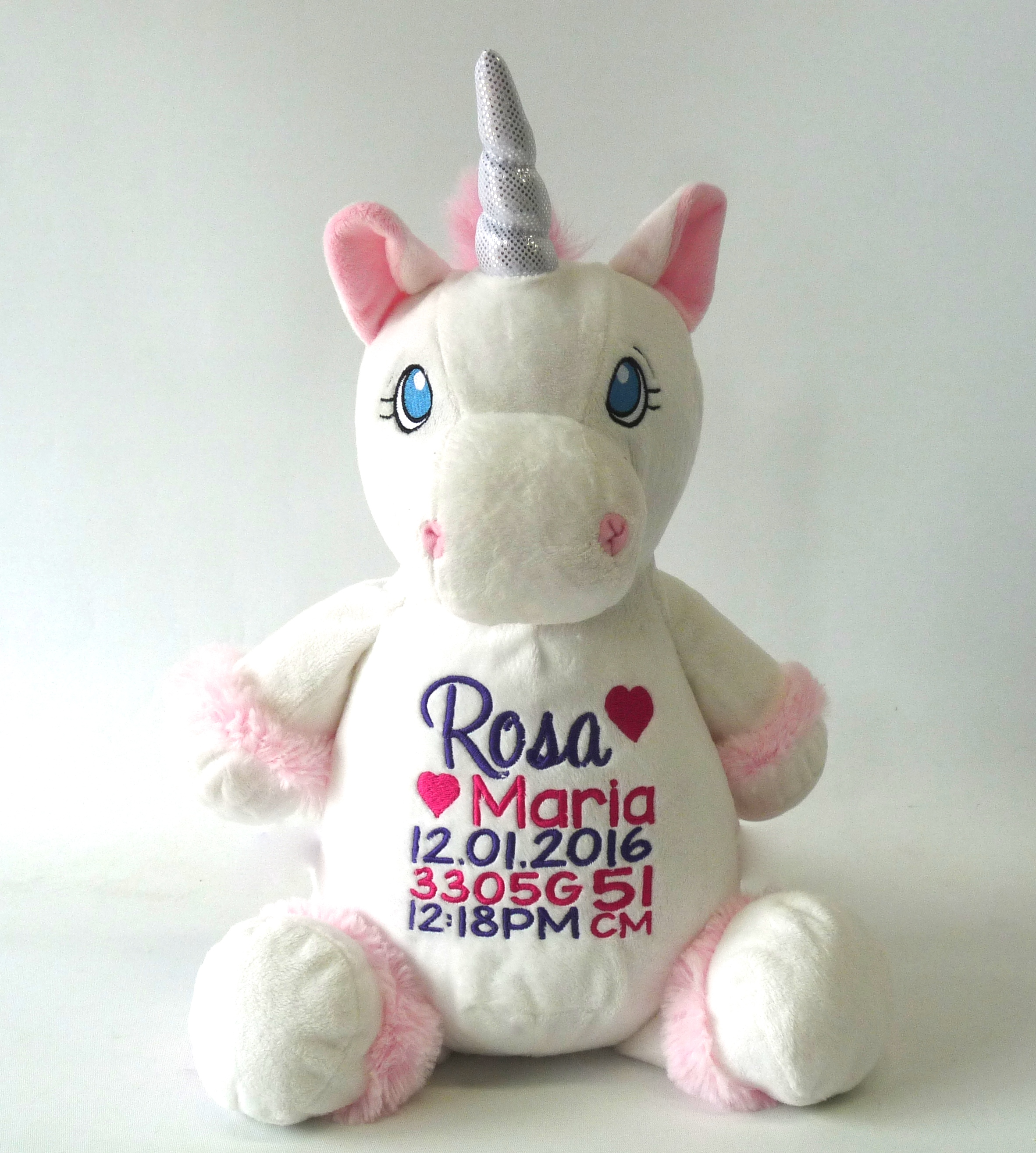 This+is+an+image+of+White+Unicorn+personalised+baby+gifts+from+My+Teddy